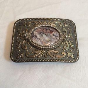 2/$20 VTG Mafco Jasper Stone Silver Metal Buckle